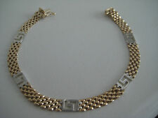 9ct yellow & white gold 5mm panther bracelet with greek key SPECIAL ARRIVAL