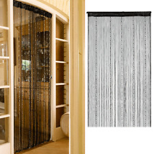 Black Decorative String Fringe Curtain Beads Wall Panel Room Door Window Divider