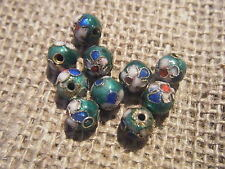 10 Emerald Green Cloisonne Beads Handmade 6mm Round Flower Design Enamel Metal