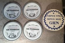 "Gien France Gastronomie 6.5"" Cheese Plates Set of 4 New NOS"