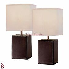 Pair of Brown Cube Table Lamps - BNIB - Leather Look Bedside Lamp