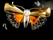 DANIEL SWAROVSKI SIGNED GOLDEN TOPAZ CRYSTAL BUTTERFLY  PIN ~ BROOCH RETIRED NIB