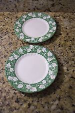 CHURCHILL STAFFORDSHIRE ENGLAND GRAPE VINE BREAD & BUTTER PLATES 2 green & white