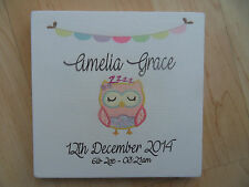 Shabby personalised new baby born picture boy/girl plaque/sign chic and unique