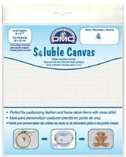 "DMC 14 Ct Water Soluble Canvas 8 x 8.5"" (20 x 22 cm) + Free Design"