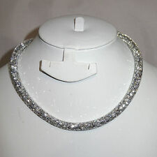 Silver Swarovski Element Stardust Crystal Necklace Choker Magnetic closure
