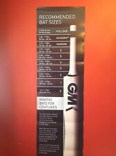 Giant Gunn & Moore Cricket Bat Size Measuring Poster - For Clubs And Schools