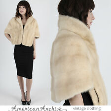 Vintage 60s Blonde Mink Fur Stole Wedding Cape Bolero Shrug Wrap Coat Jacket M
