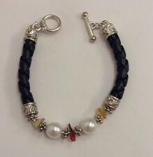 Trendy Pearl & Genuine Amber Gemstone Black Braided Leather Toggle Bracelet