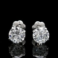 0.50ct Brilliant Created Diamond Earrings 14K White Gold Round Screwback
