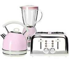Pastel Pink Kettle & 4 Slices Toaster & Blender Kitchen Vintage Aid Retro Set