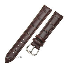 18mm Brown Alligator Grain Leather Stitch Strap Wristwatch WatchBand Pin Buckle