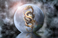 A4 Poster – Japanese Dragon & Yin Yang over the Moon (Picture Print Art Japan)