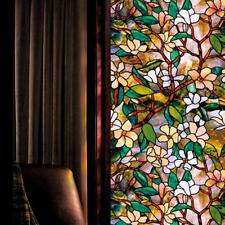3D Magnolia Flower Printing Painting Glass Window Film Home Decor Sticker