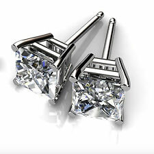 1.00ct Diamond Earring Stud Women  14K White Gold VVS1/D Princess Cut