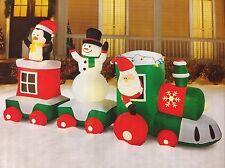 New 11 Ft Train Scene Lighted Inflatable Santa Snowman Penguin Christmas 5.6