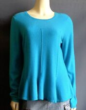 Antonio Melanie 100% Cashmere Sweater L NEW Flared Peplum Aqua NWT