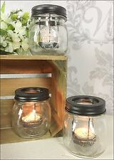 Set of 3 Glass Jar Votive Tea Light Candle Holder Wedding Decoration Vintage