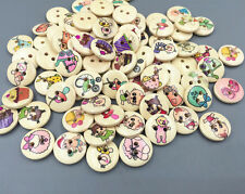 50pcs baby series pattern Wooden Sewing buttons scrapbooking Craft 15mm