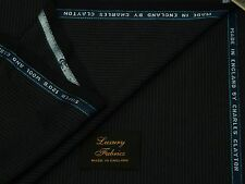 CHARLES CLAYTON SUPER 120S WOOL/CASHMERE DARK NAVY PINSTRIPE SUITING FABRIC 3.5M
