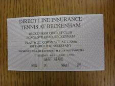 04/06/1991 tennis ticket: ligne directe d'assurance tennis [à Beckenham cricket clu