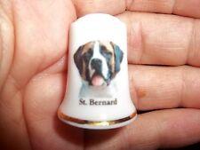 vintage St. Saint Bernard Dog Collectible ceramic Thimble figurine Lim.Edition