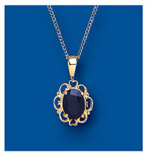 "Yellow Gold Real Sapphire Fancy Pendant With 18"" Chain UK Made Hallmarked"