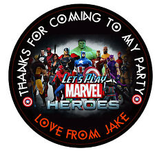 Personalised  super hero-Round  50mm Stickers Party Thank You Seals 15 Stickers