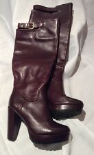 H&M Australia Plum / Burgundy  Genuine Leather Tall Boots For Women Size 38