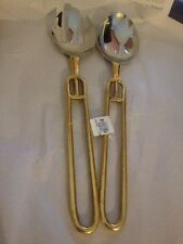 s/2 Pottery Barn Serving Set Spoon and Folk Stainless steel Gold Accent Handle