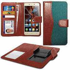 For LG X screen - Fabric Mix Clip Function Wallet Case Cover