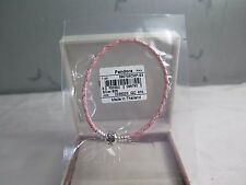 New Pandora Pink Braided Leather MEDIUM 7.5 Bracelet 590705CMP S2 GIFT SET AVAIL