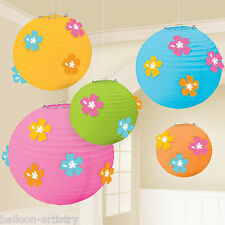 5 Tropical Party Hanging Hibiscus Flower Paper Ball Globe Lantern Decorations