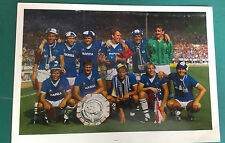 EVERTON 1986 CHARITY SHIELD WINNERS SIGNED PHOTO-CARD x 11 & HOWARD KENDALL