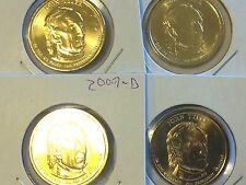 4 Coin Set All 2009 D John Tyler Presidential Golden Dollar BU Gold $1