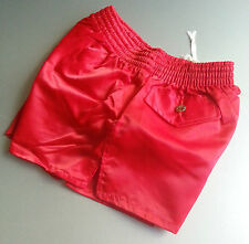 RED SIZE XS nylon rugby soccer shorts glanz shiny 80'S retro vintage new