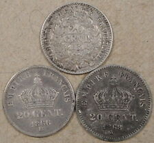 France Twenty Centimes 1851-A,66-BB,+ 68-A Mid Grade as Pictured