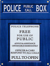New 15x20cm POLICE TELEPHONE BOX vintage enamel style metal phone sign TARDIS