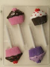 CUP CAKE HEARTS ON FROSTING LOLLIPOP CHOCOLATE CANDY MOLD BIRTHDAY PARTY FAVORS
