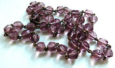 Vintage Art Deco 1920s Czech Pink Faceted Glass Bead Necklace