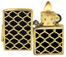 Zippo 28675 Black Gold Design High Polish Brass Windproof  Lighter NEW