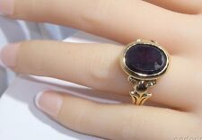 Vintage 14k Solid Gold Ring Garnet Or Ruby Stone Made in Czechoslovakia