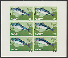 GB Locals - Pabay (987) 1969 FISH 2s Mackerel imperf sheet of 6 u/m