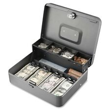 MMF 2216194G2 Tiered Cash Box with Bill Weights, 12 in, Cam Key Lock, Charcoal