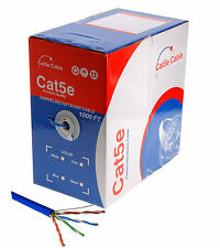 1000FT Cat5e LAN Ethernet Cable / Pull Box UTP Cat-5e Solid Network Wire Blue