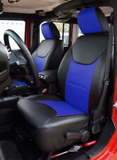 JEEP WRANGLER 2013-2016 BLACK/BLUE LEATHER-LIKE CUSTOM MADE FRONT SEAT COVER