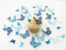48 Edible Shades of Blue Butterflies Pre Cut Wafer Cupcake Toppers