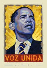 """Voz Unida Offset Print by Rafael Lopez 25.5"""" X 35.5"""" Ed 1000 Barack Obama 2008"""