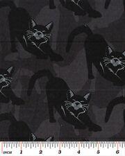 Cuarto gordo gótico Glam Gatos Negro Halloween De Algodón Acolchado Tela Benartex