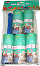 STICKY LINT ROLLER SET WITH 4 SPARE ROLLS (5 ROLLS TOTAL) FLUFF PET HAIR REMOVER